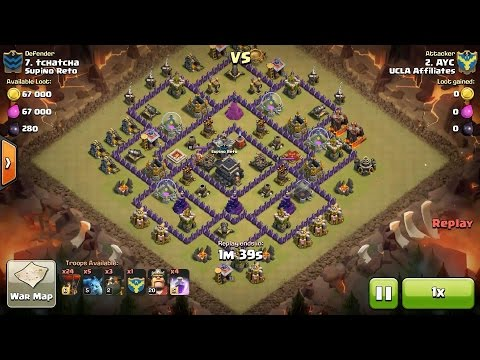 Clash of Clans TH9 vs TH9 Four Lava Hound & Balloon (QuattroLavaloon) (No AQ) Clan War 3 Star Attack